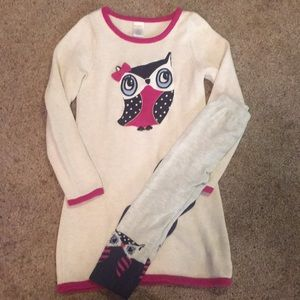 GYMBOREE Owl Sweater dress with matching tights